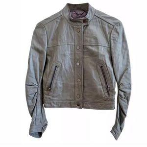 BCBG Max Azria Gray Leather Jacket